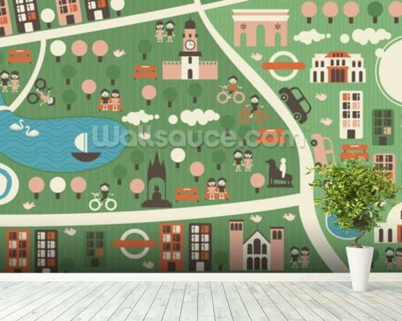 Hyde Park Map wallpaper mural room setting