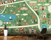 Hyde Park Map wallpaper mural kitchen preview
