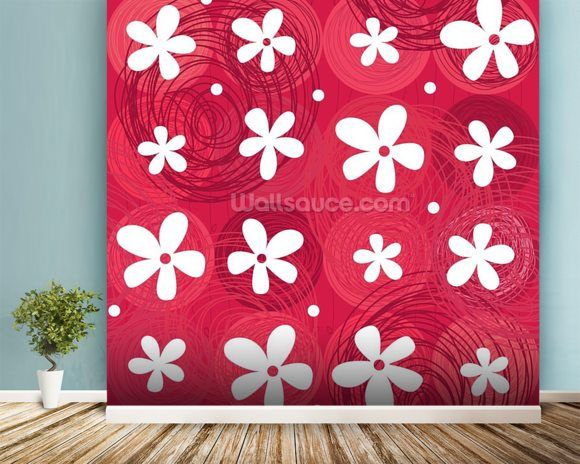Red & White Flowers wall mural room setting