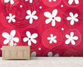 Red & White Flowers wall mural living room preview