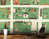 Cartoon Map wallpaper mural kitchen preview