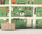 Cartoon Map wallpaper mural living room preview