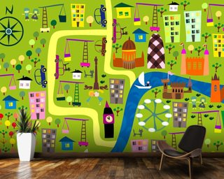 Cartoon Map of London mural wallpaper