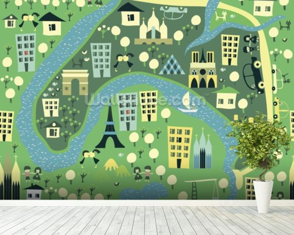 Cartoon Map of Paris wall mural room setting