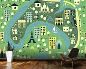 Cartoon Map of Paris wall mural kitchen preview