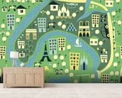 Cartoon Map of Paris wall mural living room preview