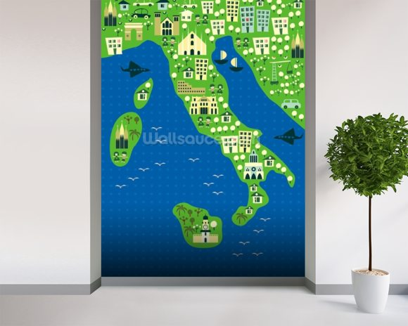 Cartoon map of italy wallpaper mural room setting