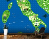 Cartoon map of italy wallpaper mural kitchen preview
