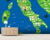 Cartoon map of italy wallpaper mural living room preview