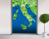 Cartoon map of italy wallpaper mural in-room view
