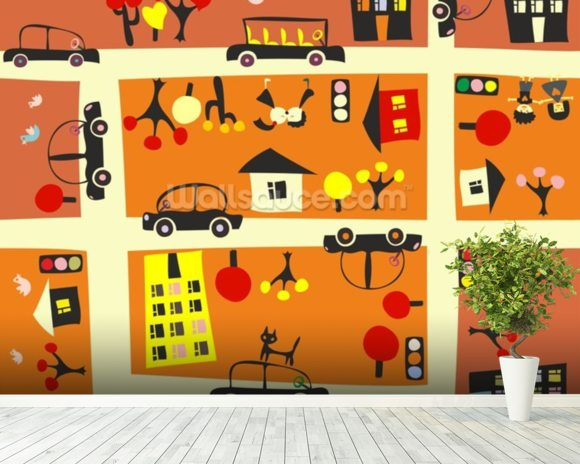 Autumn Street Map wall mural room setting