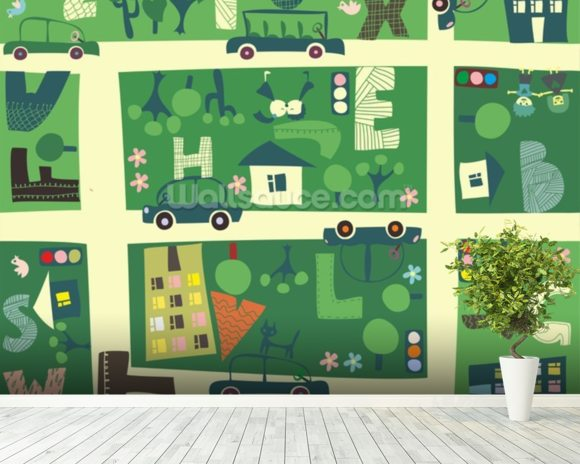 Alphabet Streets wall mural room setting