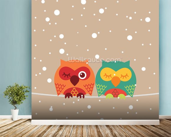 Two Owls wallpaper mural room setting