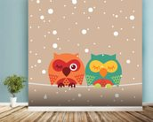 Two Owls wallpaper mural in-room view
