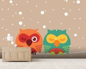 Two Owls wallpaper mural living room preview