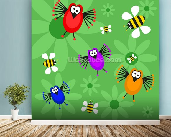Birds and Bees mural wallpaper room setting