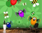Birds and Bees mural wallpaper kitchen preview