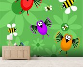 Birds and Bees mural wallpaper living room preview