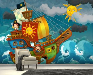 Pirate Ship mural wallpaper