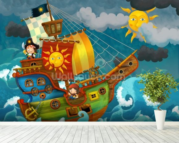 Pirate Ship mural wallpaper room setting