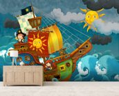 Pirate Ship mural wallpaper living room preview