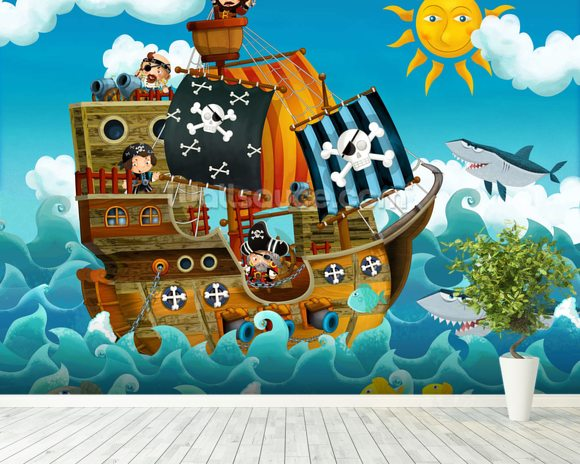 Pirates wall mural room setting