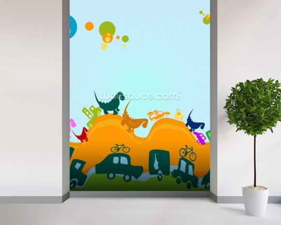 Dinosaurs illustration wallpaper wall mural wallsauce for Dinosaur wall mural uk
