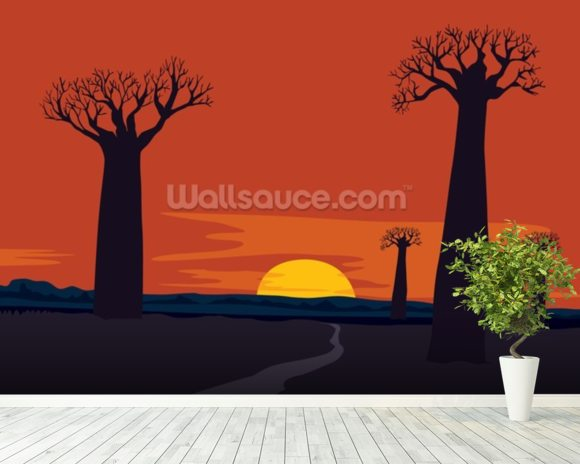 Boab Trees wallpaper mural room setting