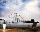 Chinese Fishing Net mural wallpaper kitchen preview