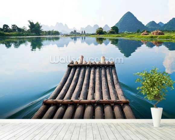 Bamboo Rafting on Li River wall mural room setting