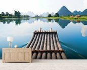 Bamboo Rafting on Li River wall mural living room preview