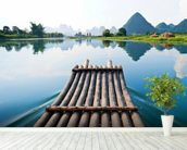 Bamboo Rafting on Li River wall mural in-room view