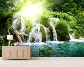 Forest Waterfall mural wallpaper living room preview