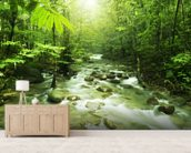 Mountain River wall mural living room preview