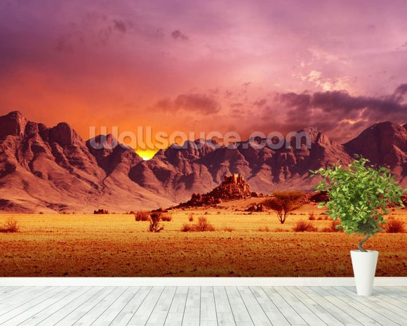 Namib desert sunset wallpaper wall mural wallsauce usa for Desert wall mural