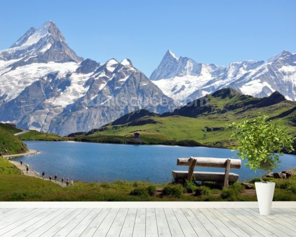 Mountain and Lake View mural wallpaper room setting