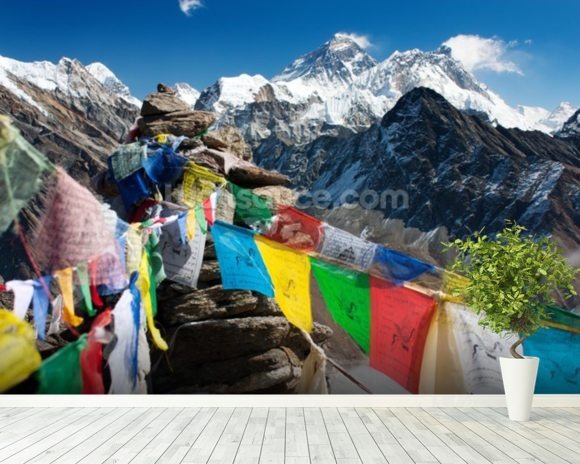 Mt Everest mural wallpaper room setting