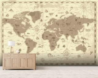 World map wallpaper wall murals wallsauce new zealand ancient world map gumiabroncs Images