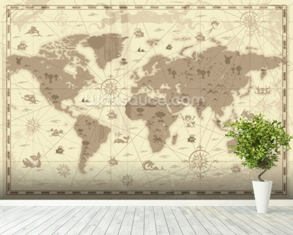 Ancient world map wallpaper wall mural wallsauce australia ancient world map mural wallpaper room setting gumiabroncs Choice Image
