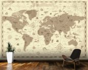 Ancient World Map mural wallpaper kitchen preview