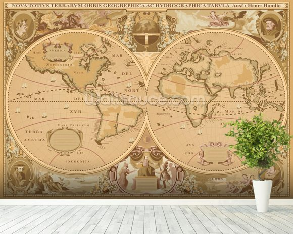 Antique world map wallpaper wall mural wallsauce for Antique world map wallpaper mural