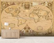 Antique World Map wallpaper mural living room preview