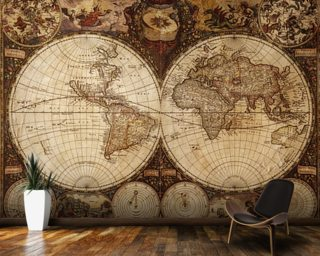 Map wallpaper wall murals wallsauce australia vintage world map wall mural wallpaper gumiabroncs Choice Image