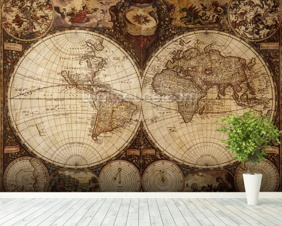 Vintage world map wallpaper wall mural wallsauce for Antique mural wallpaper