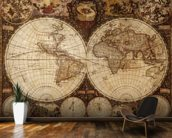 Vintage World Map mural wallpaper kitchen preview