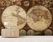 Vintage World Map mural wallpaper living room preview