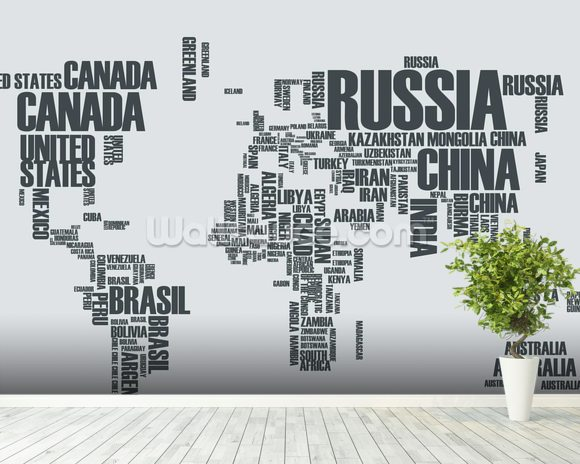 World map word cloud wallpaper wall mural wallsauce australia world map word cloud wallpaper mural room setting gumiabroncs Choice Image