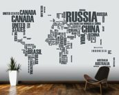 World Map Word Cloud wallpaper mural kitchen preview