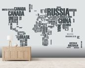 World Map Word Cloud wallpaper mural living room preview