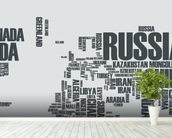 World Map Word Cloud wallpaper mural in-room view